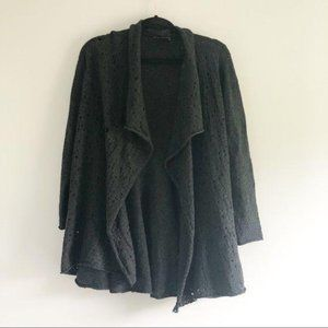 Eileen Fisher Distressed Black Hole Knit Cardigan